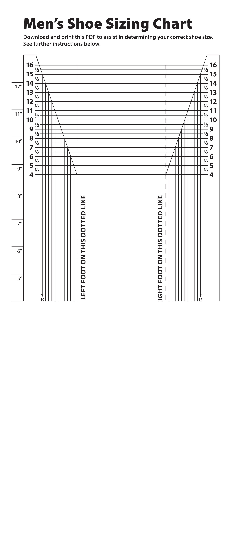 Printable Mens Shoe Size Chart   Templates at allbusinesstemplates.com