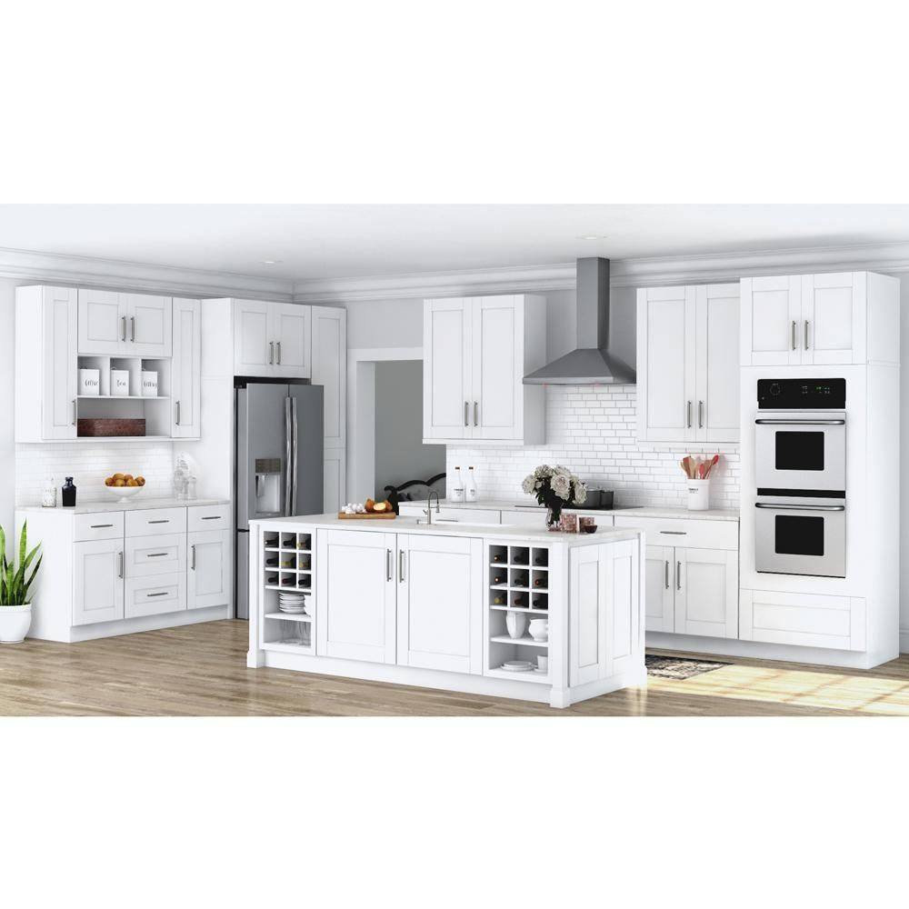 Hampton Bay Shaker Assembled 30x34 5x24 In Pots And Pans Drawer Base Kitchen Cabinet In In 2020 Home Depot Kitchen White Shaker Kitchen White Shaker Kitchen Cabinets
