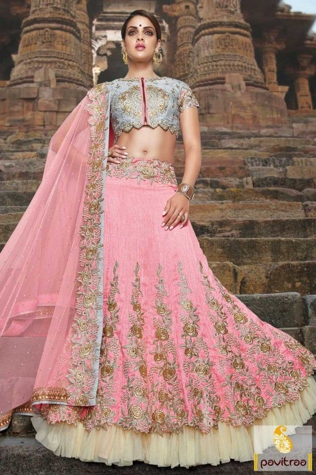 Grey Light Pink Santoon Silk Designer Wedding Choli By
