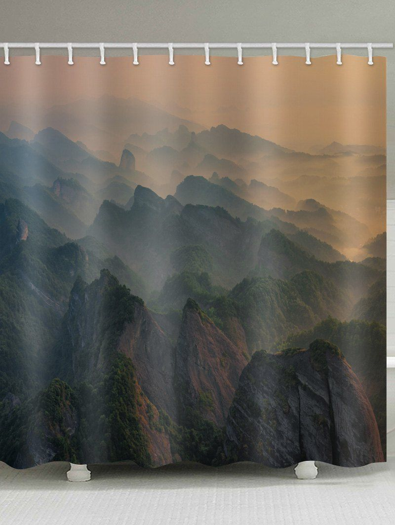 Mountain Printed Waterproof Shower Curtain Cheap Shower