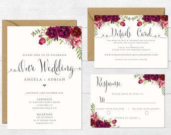 Blumen Hochzeit Einladung Druckbare Von DarlingPaperCompany Auf Etsy