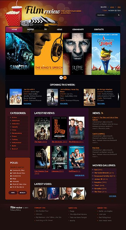 Template 32872 - Film Review Joomla Template | Media Website