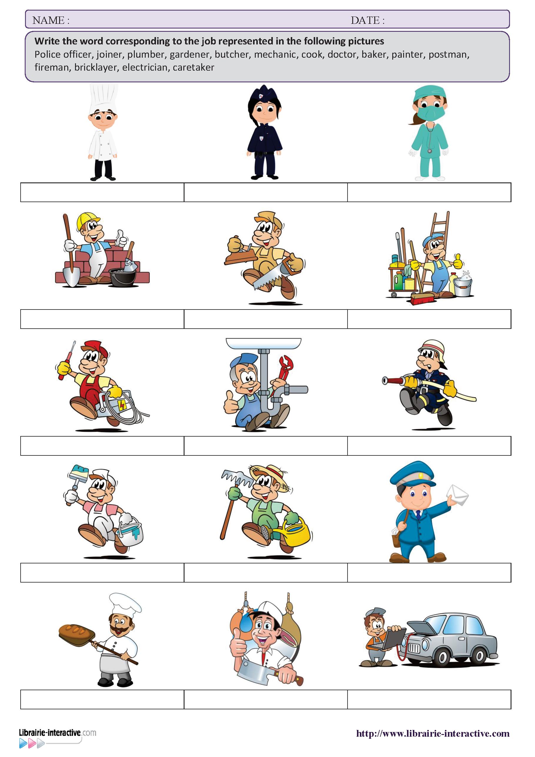 Une Petite Activite Pour Decouvrir Le Vocabulaire Des Metiers En Anglais