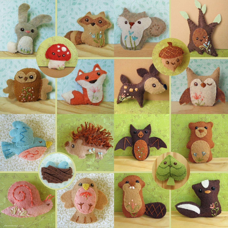 Woodland Creatures Plush sewing pattern Set 2 PDF Download Felt