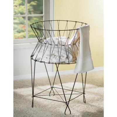 Vintage Wire Collapsible Laundry Basket Hamper In 2020 Wire