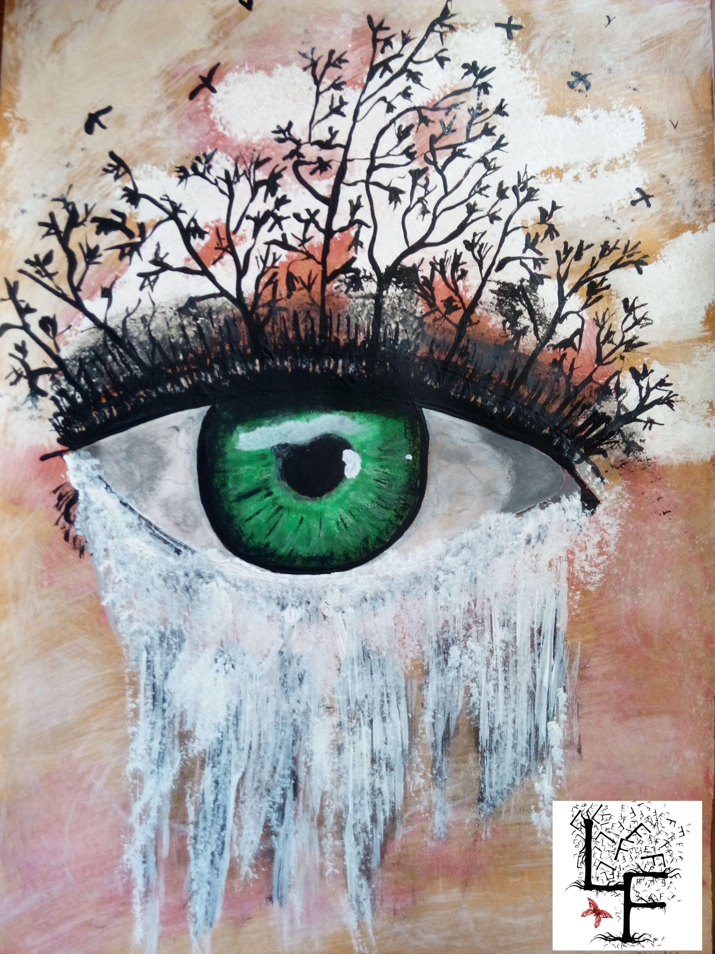 L Oeil De La Vie Aquarelle Et Acrylique Illustration