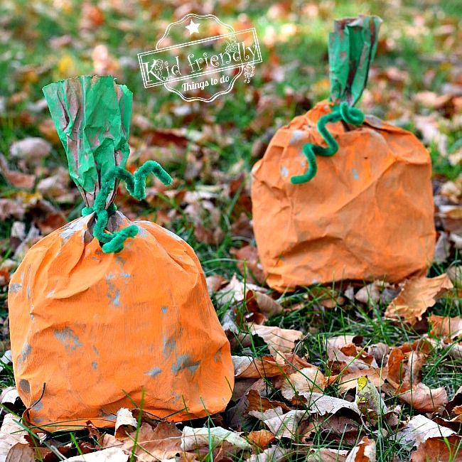 Easy and Fun Paper Bag Pumpkin Craft for Kids to Make Pinterest - halloween decorations for kids to make