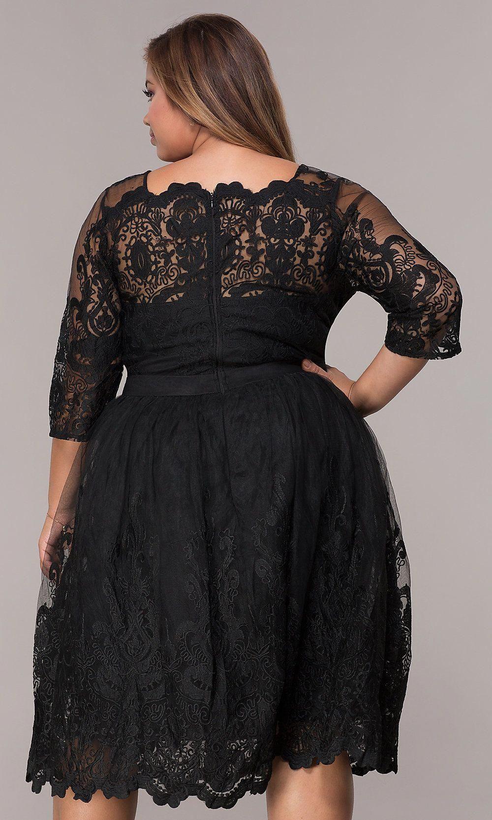 Short Lace Plus Size 3 4 Sleeve Wedding Guest Dress Plus Size Party Dresses Wedding Guest Dress Guest Dresses [ jpg ]
