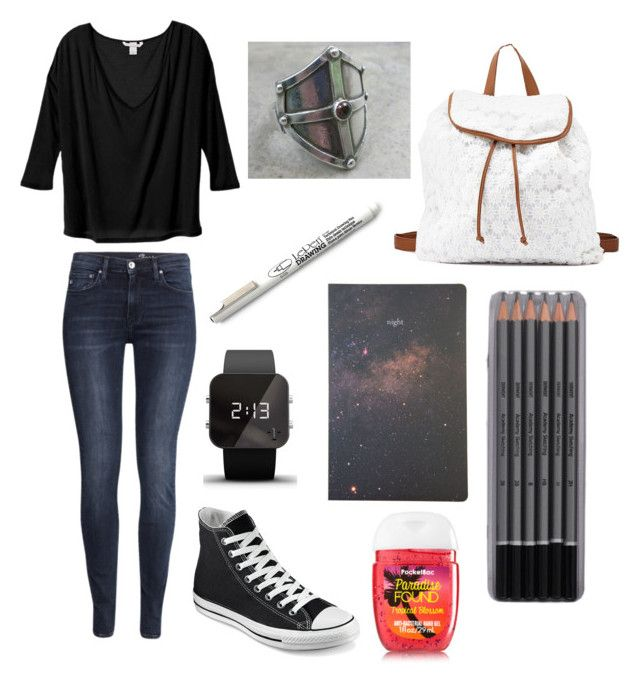 """Untitled #442"" by sarahlavelle8 ❤ liked on Polyvore featuring moda, H&M, Converse, Poketo, 1:Face e Charlotte Russe"