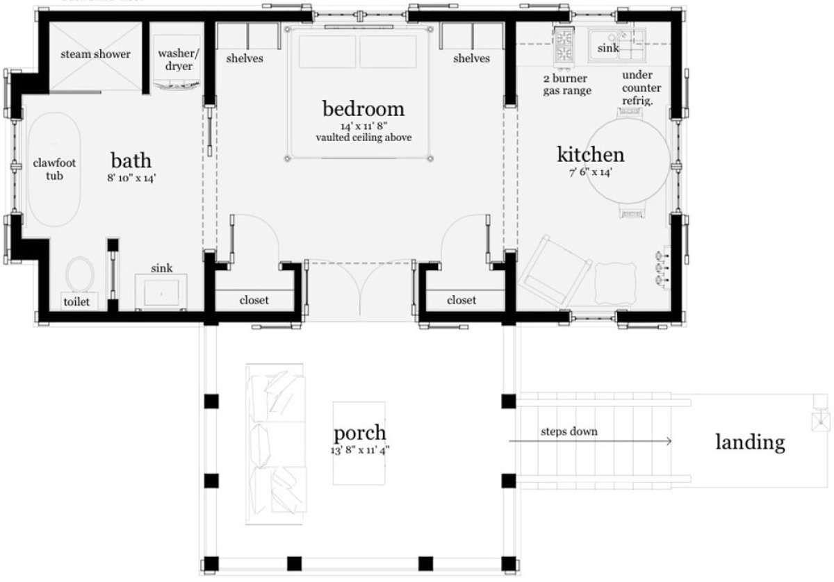 House Plan 028 00105 Small Plan 477 Square Feet 1 Bedroom 1 Bathroom In 2020 Loft Floor Plans Toilet Plan Unique House Plans