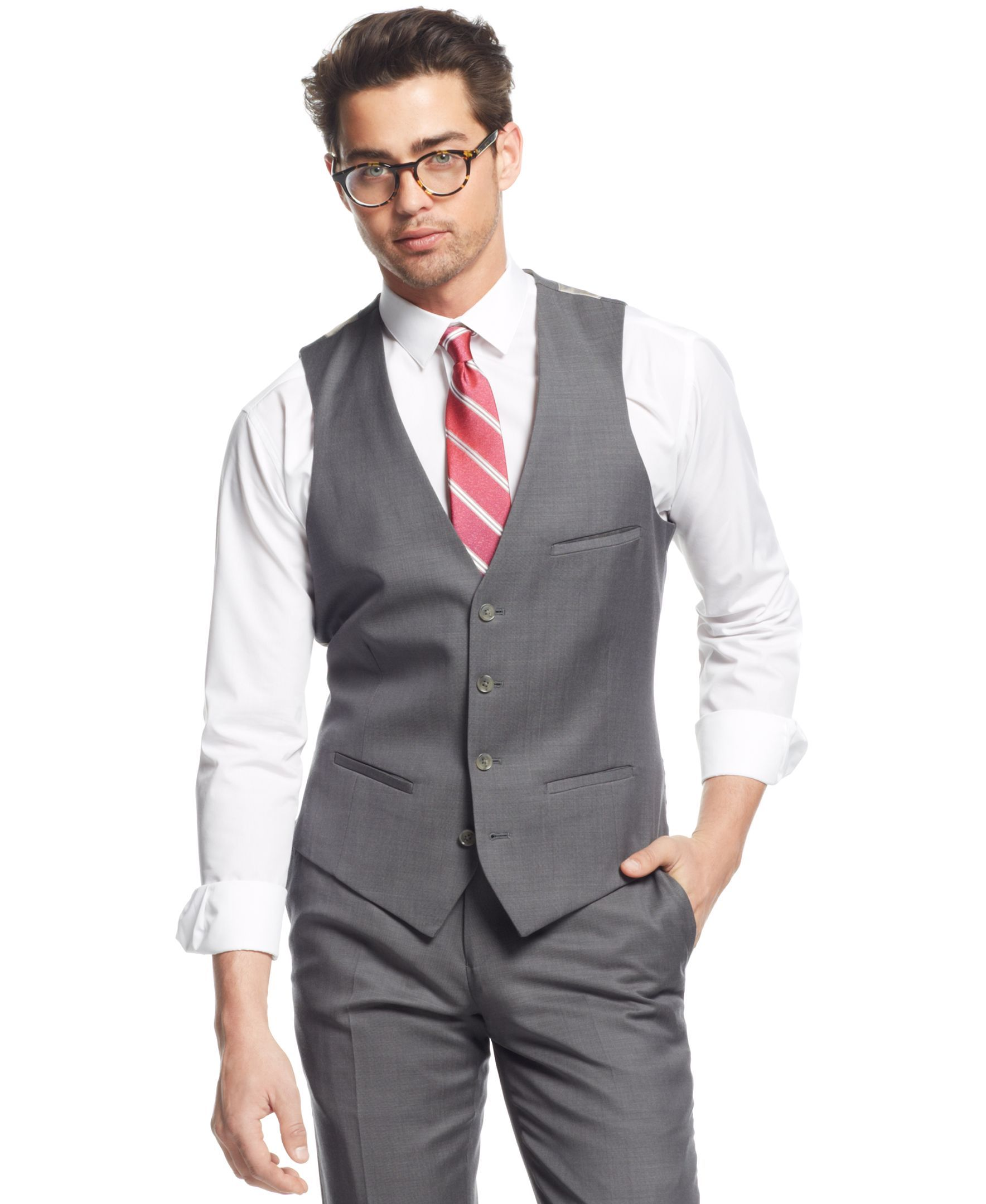Put The Perfect Finishing Touch On Your Look With Bar Iii Mid Grey Slim Fit Pindot Vest