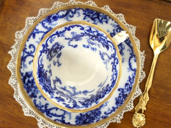Antique Flow Blue, Cup and Saucer, Vintage Teacup, Cauldon Blue and White Bone China