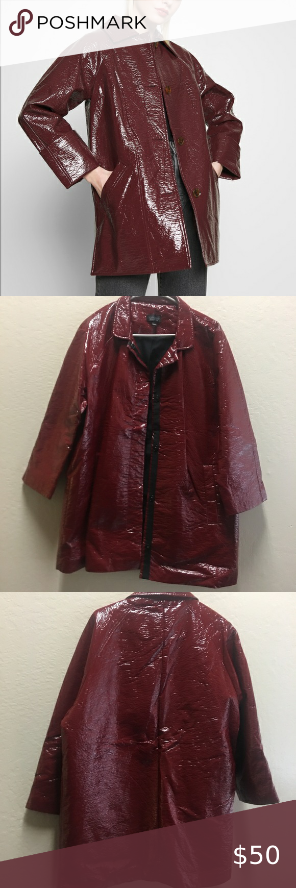 Topshop Burgundy Crinkle Patent Vinyl Jacket In 2020 Clothes Design Coats Jackets Women Topshop Denim Jacket
