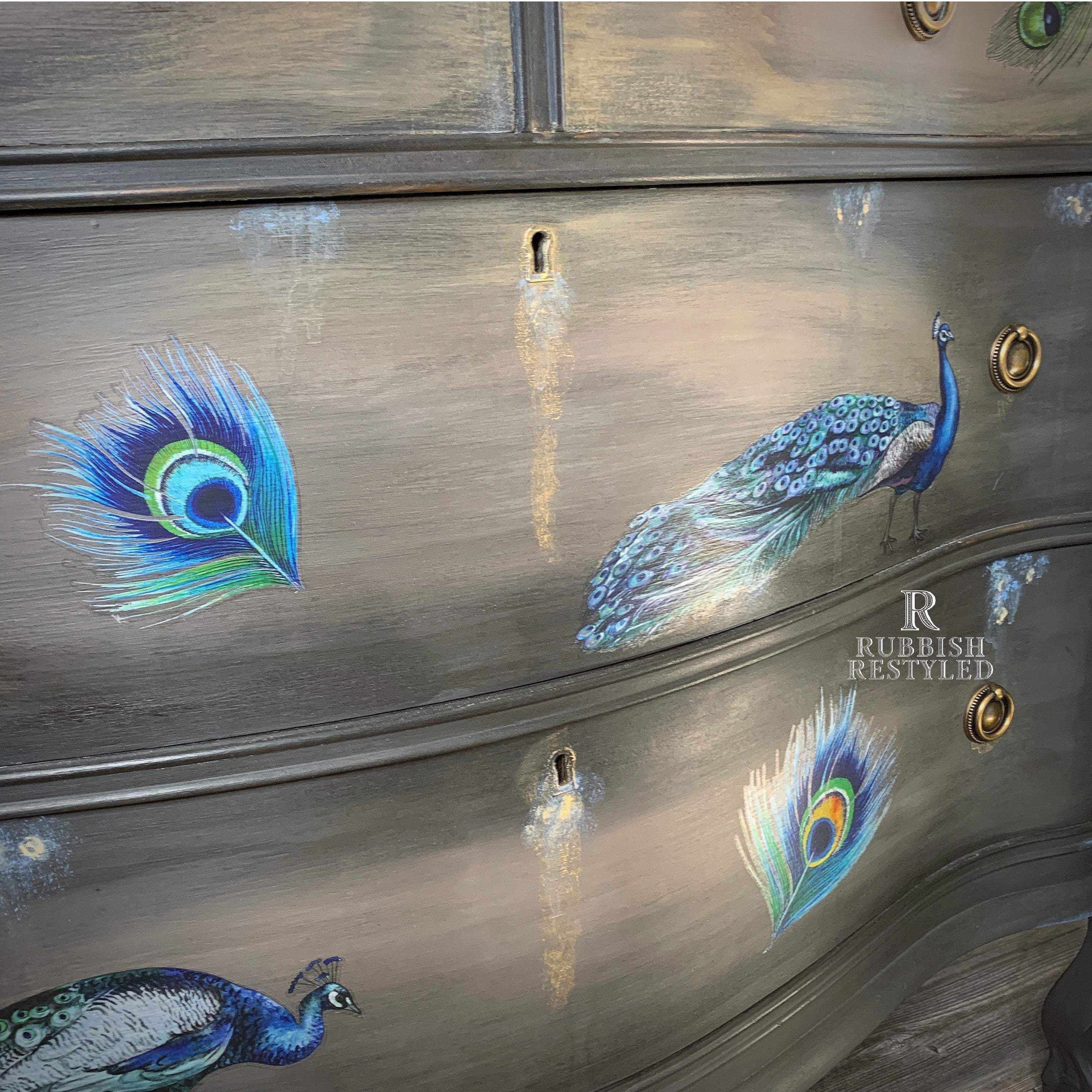 Tutorial How to paint furniture,  Peacock Dreams -learn to create this finish by blending and adding transfers.