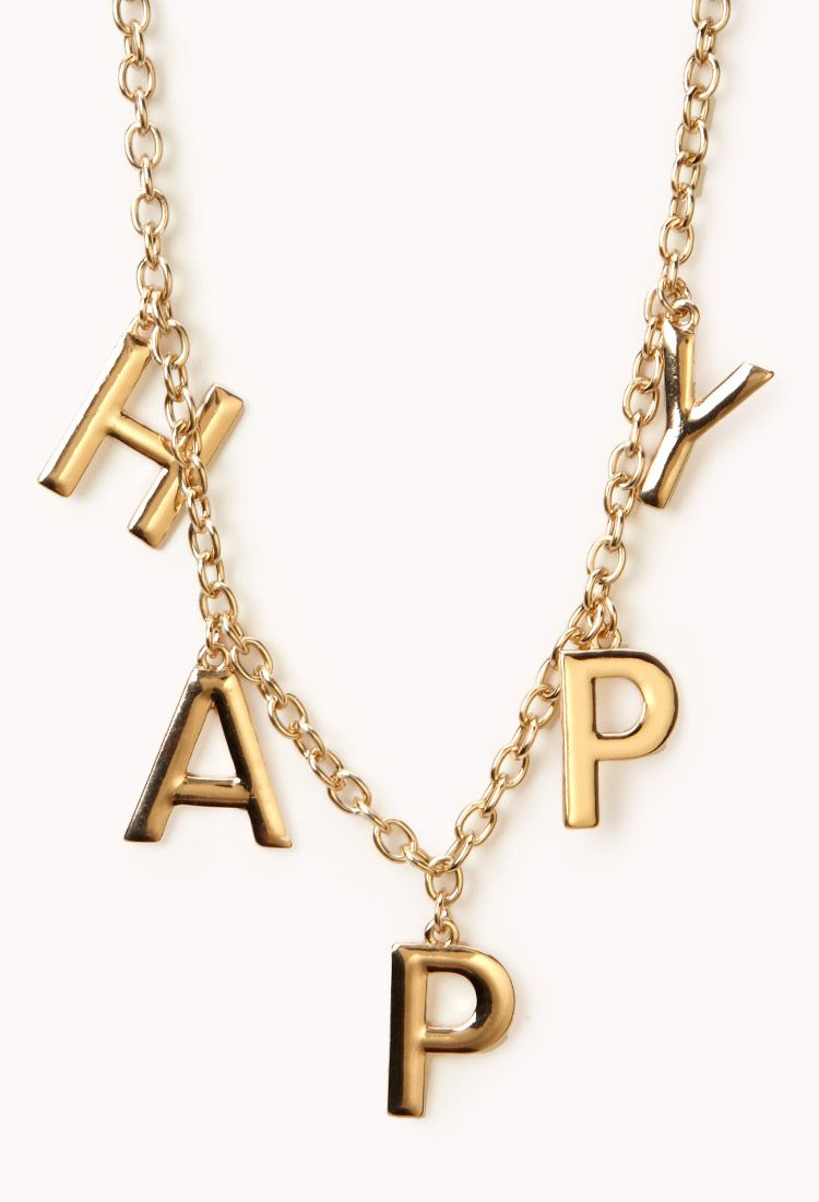 Happy Chain Necklace | FOREVER21 Don't worry be happy! #Gold #Necklace #Accessories