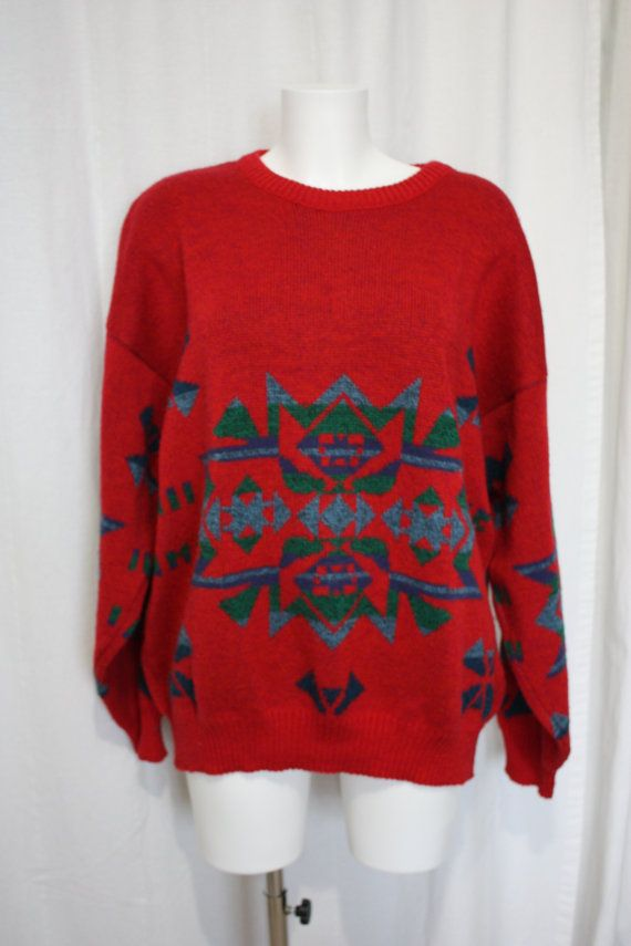 Tomato Red sweater Aztec geometric patterns by PitzicatVintage ...