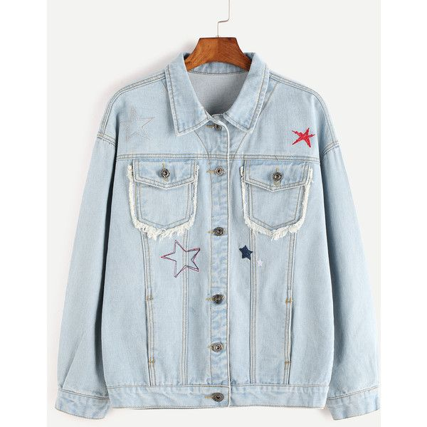 Pale Blue Embroidered Frayed Denim Jacket ($28) ❤ liked on Polyvore featuring outerwear and jackets