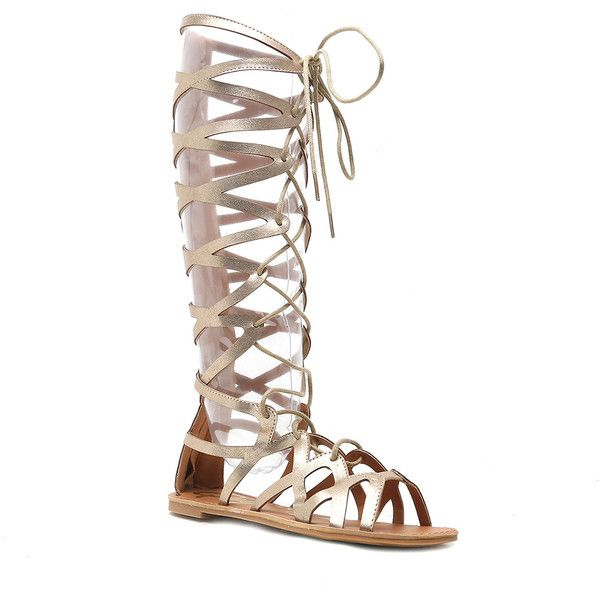 Qupid Athena Gladiator Sandals ($40) ❤ liked on Polyvore featuring shoes, sandals, strappy lace up sandals, qupid shoes, laced up gladiator sandals, lace up shoes and open toe shoes