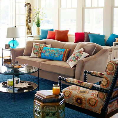 Abbie Sofa Taupe Teal Red Orange Living Room