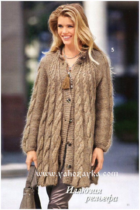 теплое пальто спицами с косами вязаные пальто спицами схемы