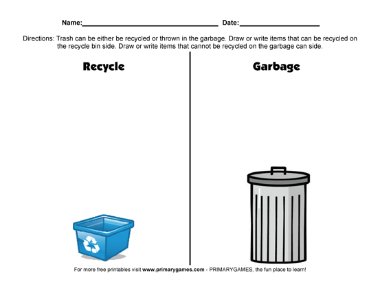 Earth Day Worksheets Recycling Versus Garbage  Recycling Earth