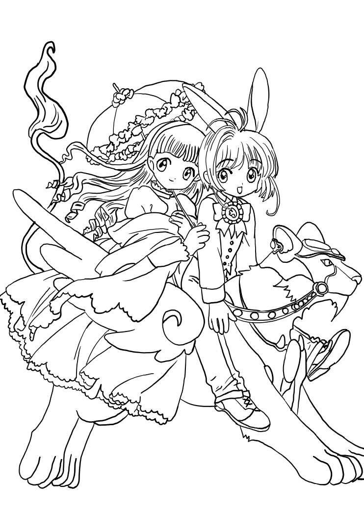 sakura shaoran by kirael art cardcaptor sakuracoloring bookmangacartoon colormandalasdrawings - Cardcaptor Sakura Coloring Pages