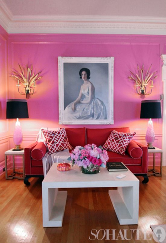 Pink living room with art. #sofa #decor #style #girlie #photography #valentine #day ...