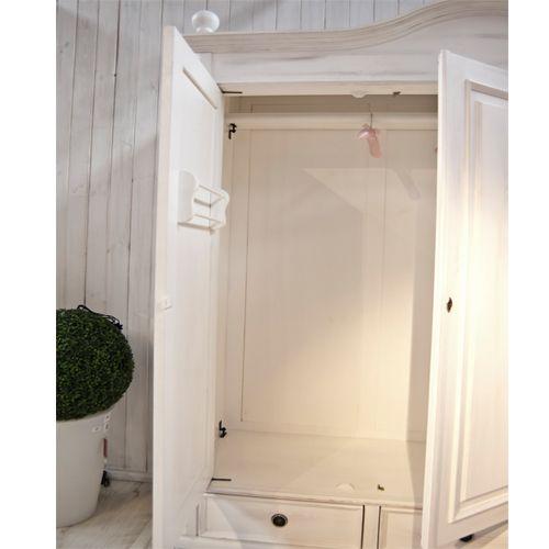 Unique Kleiderschrank t rig Innenleben ist individualisierbar optional mit Spiegel wei shabby chic