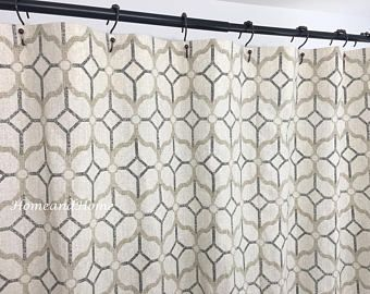 Gray Shower Curtain Pewter Grey Beige 72 X 84 108 Long Extra Wide Custom