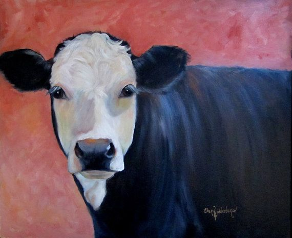 Large Portrait Painting Louise Cow Art 20x24 by ChatterBoxArt, $445.00