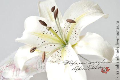 """Свадебные украшения ручной работы. Ярмарка Мастеров - ручная работа Шпилька для прически невесты """"Белая лилия"""". Handmade."""