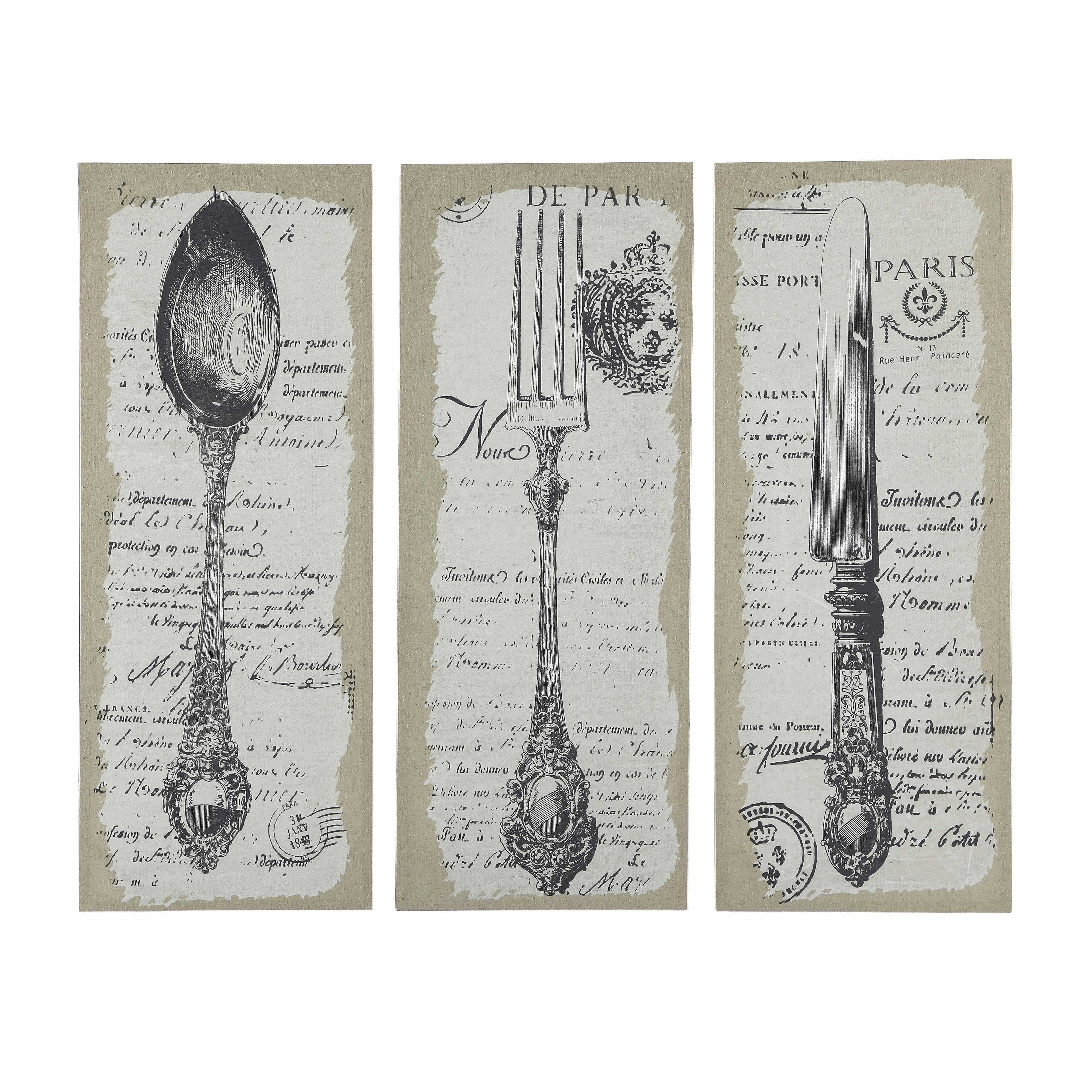 Déco murale Vintage cutlery, Triptych, Old paper