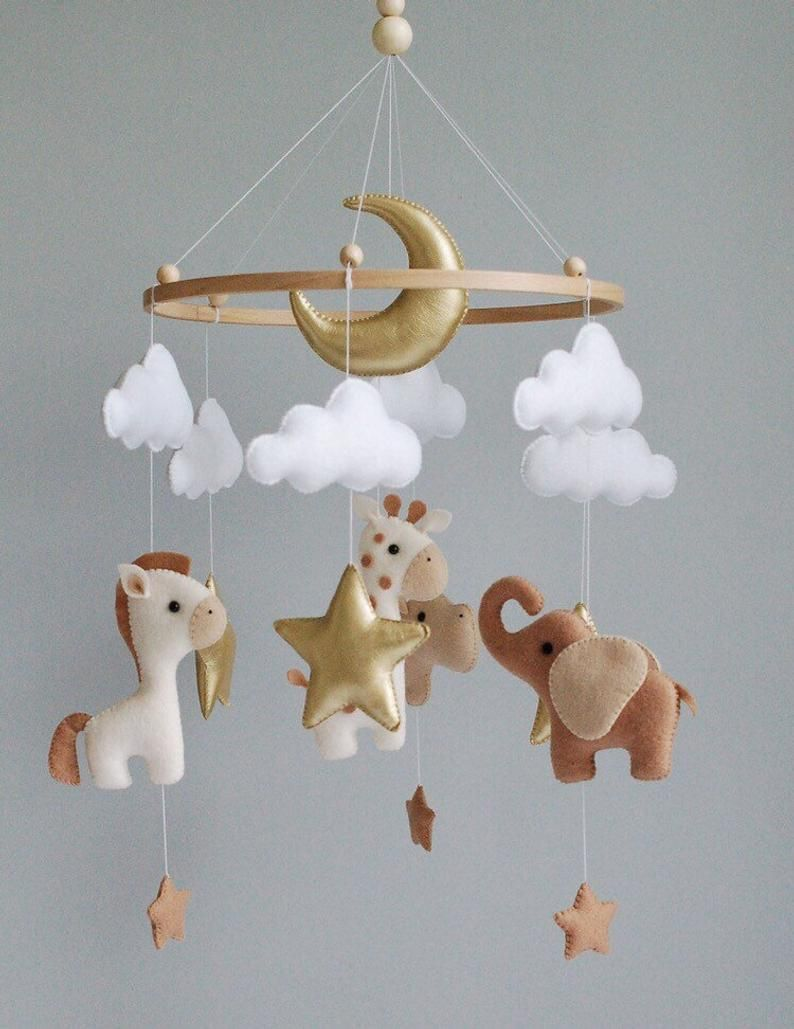 Boy baby mobile safari animals nursery girl mobile felt Africa safari giraffe, hippo and elephant Crib mobile stars and moon hanging mobile