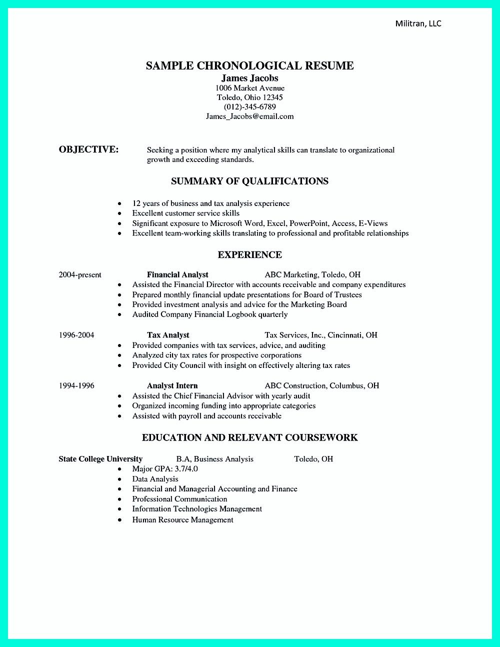 chronological resume is needed by people in making them