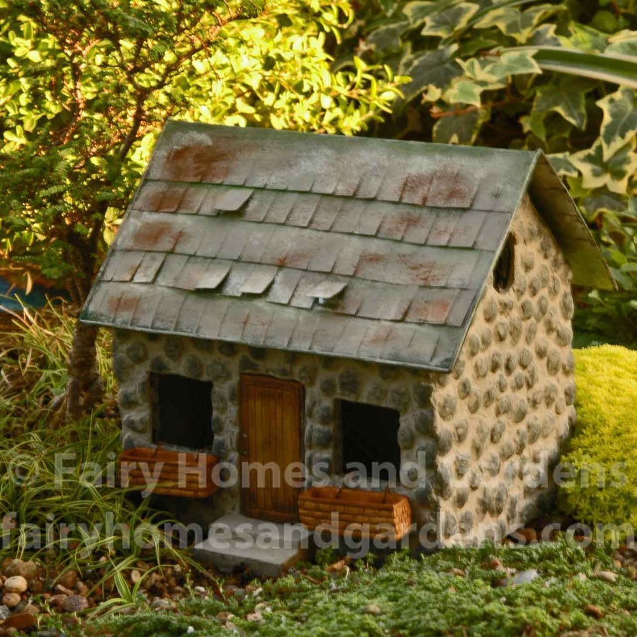 Miniature Stone Cottage With Shingled Roof