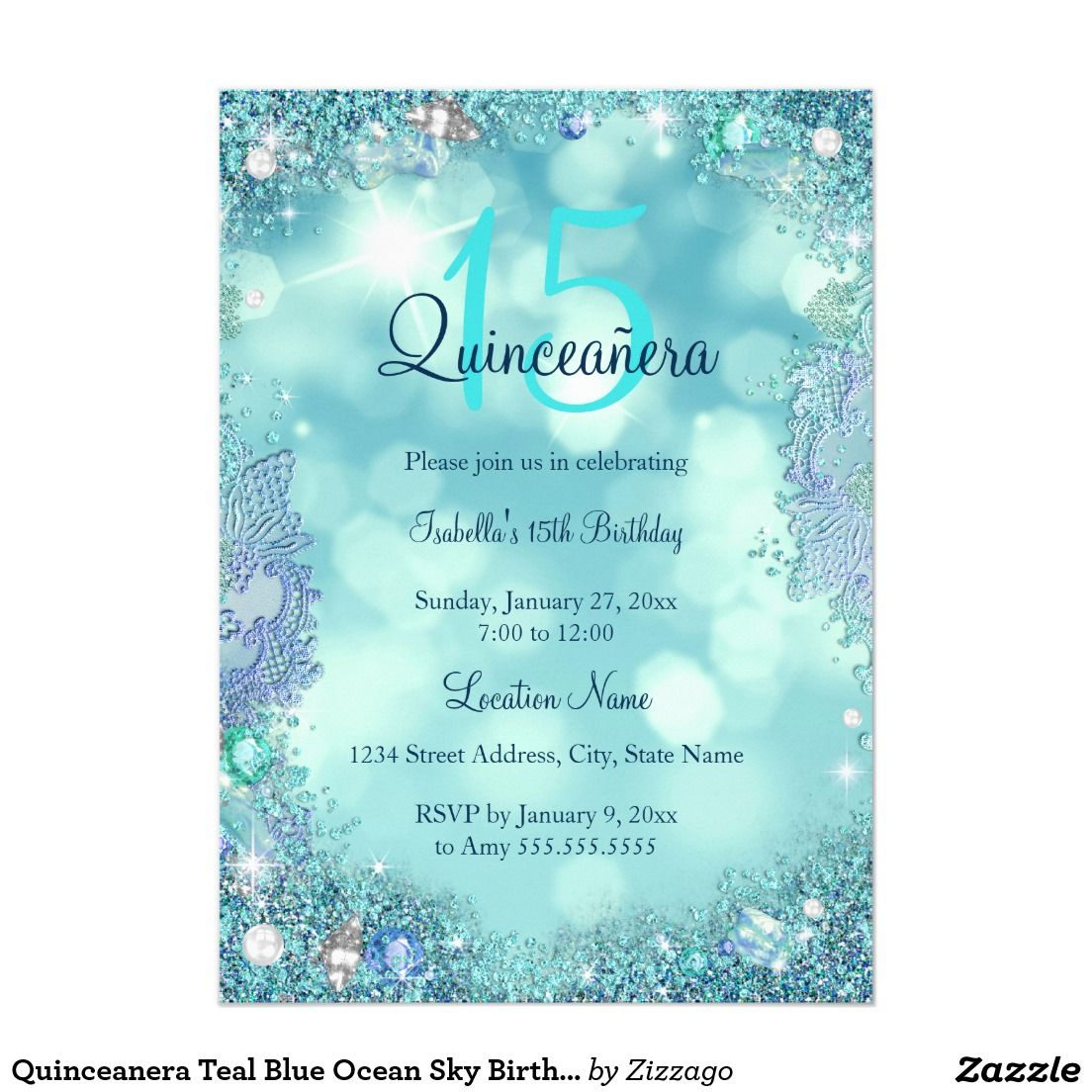 quinceanera teal blue ocean sky birthday party invitation in 2018