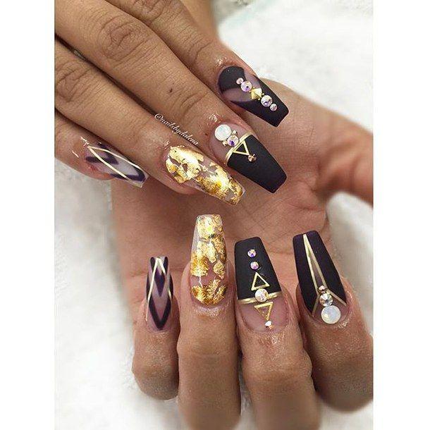 Black Nails Fall Colors Fancy Glitter Gold