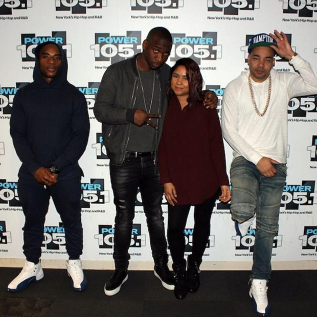 b1aa6c6dec2f45 ... inexpensive charlamagne dj envy in the air jordan 12 french blue 29966  e0064