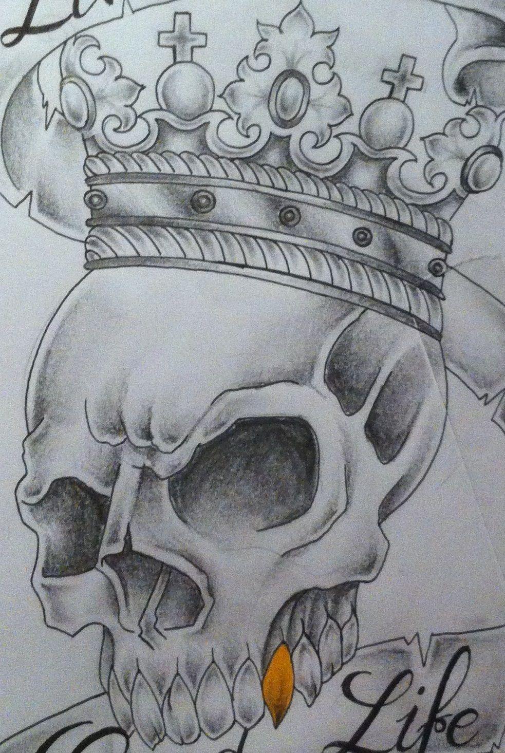 92260436f Skull with crown tattoo design by tattoosuzette.deviantart.com on @ deviantART