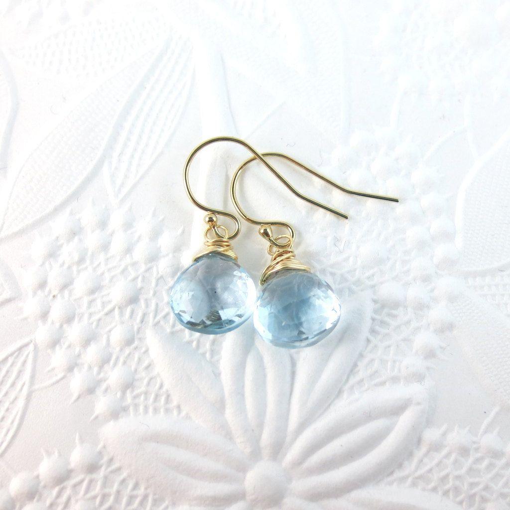 Blue Topaz Earrings with Gold. $35.00, via Etsy.
