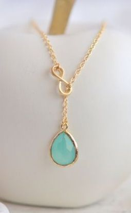 AquaTeadrop and Gold Infinity Lariat Necklace