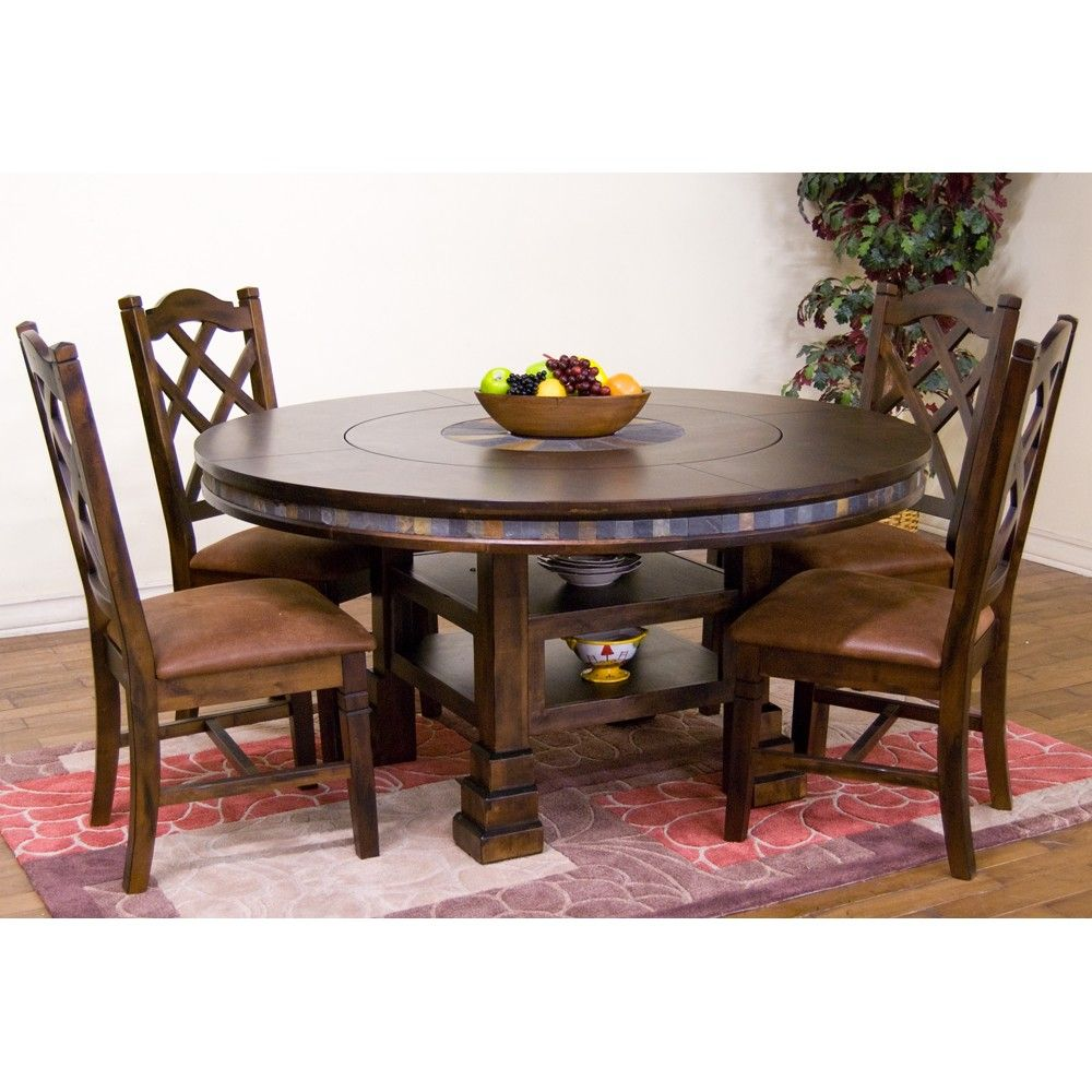 Santa Fe Wood Round Dining Table & Chairs in Dark Chocolate by