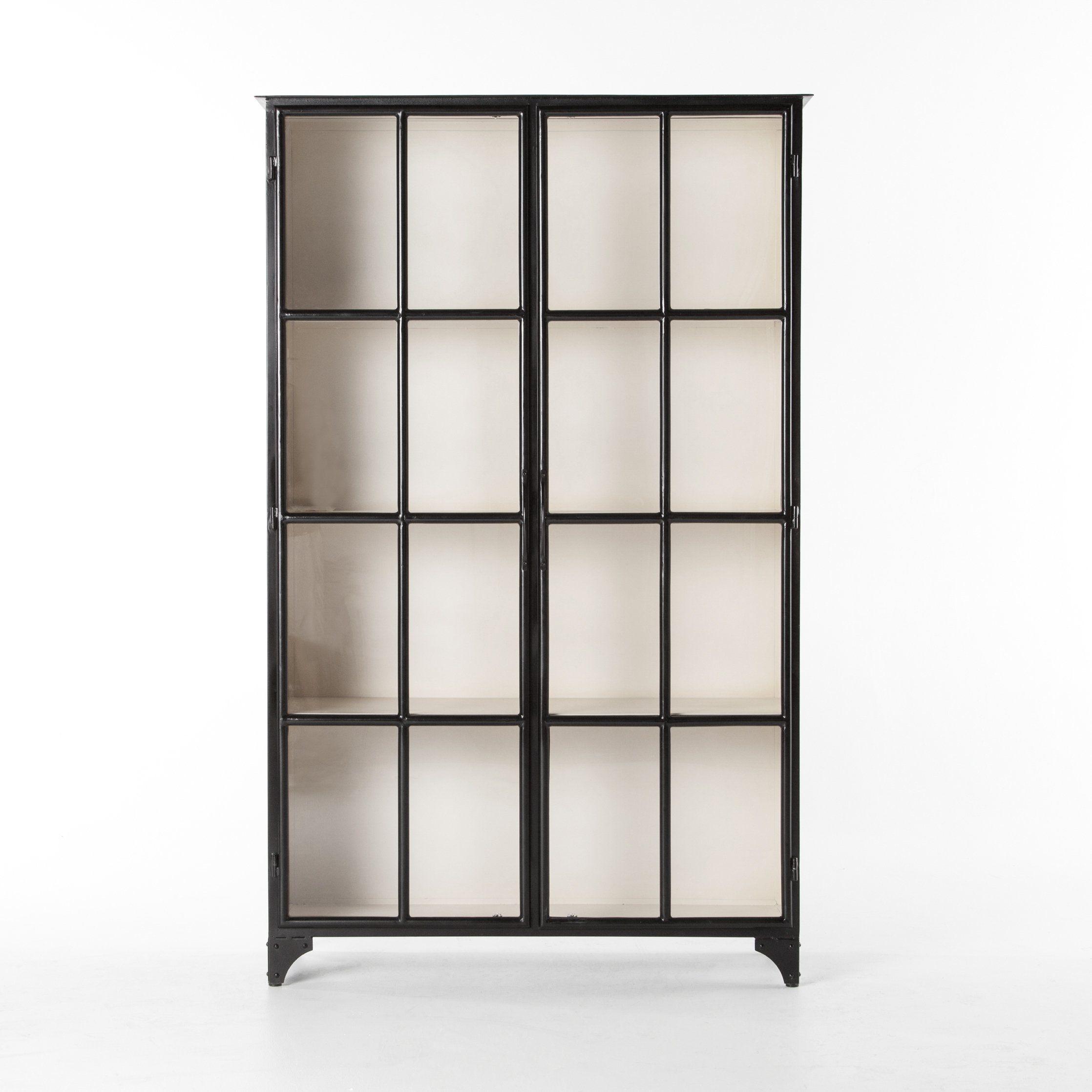 Camila Metal Cabinet In Black Glass Cabinet Doors Metal Cabinet Shelving Black china cabinet with glass doors