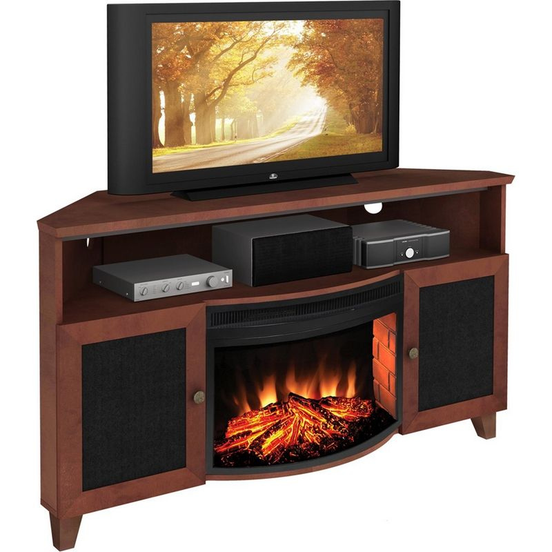 61 Tv Stand Shaker Corner W Electric Fireplace In Dark Cherry By