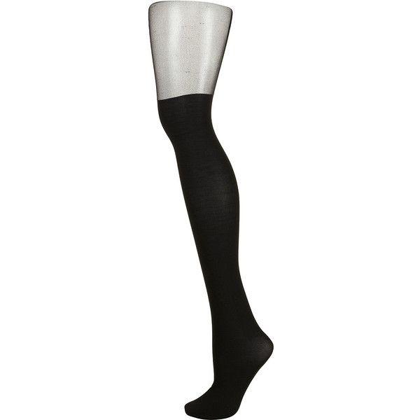 TOPSHOP Black Stud Suspender Tights (455 RUB) ❤ liked on Polyvore