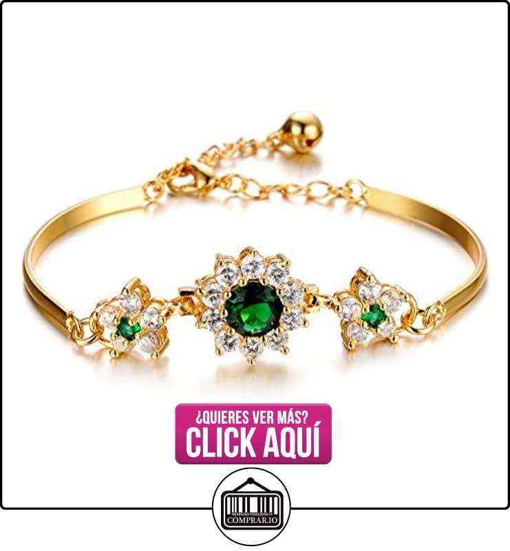 Niña era princesa 18 K oro esmeralda flores pulido brazalete pulsera ...
