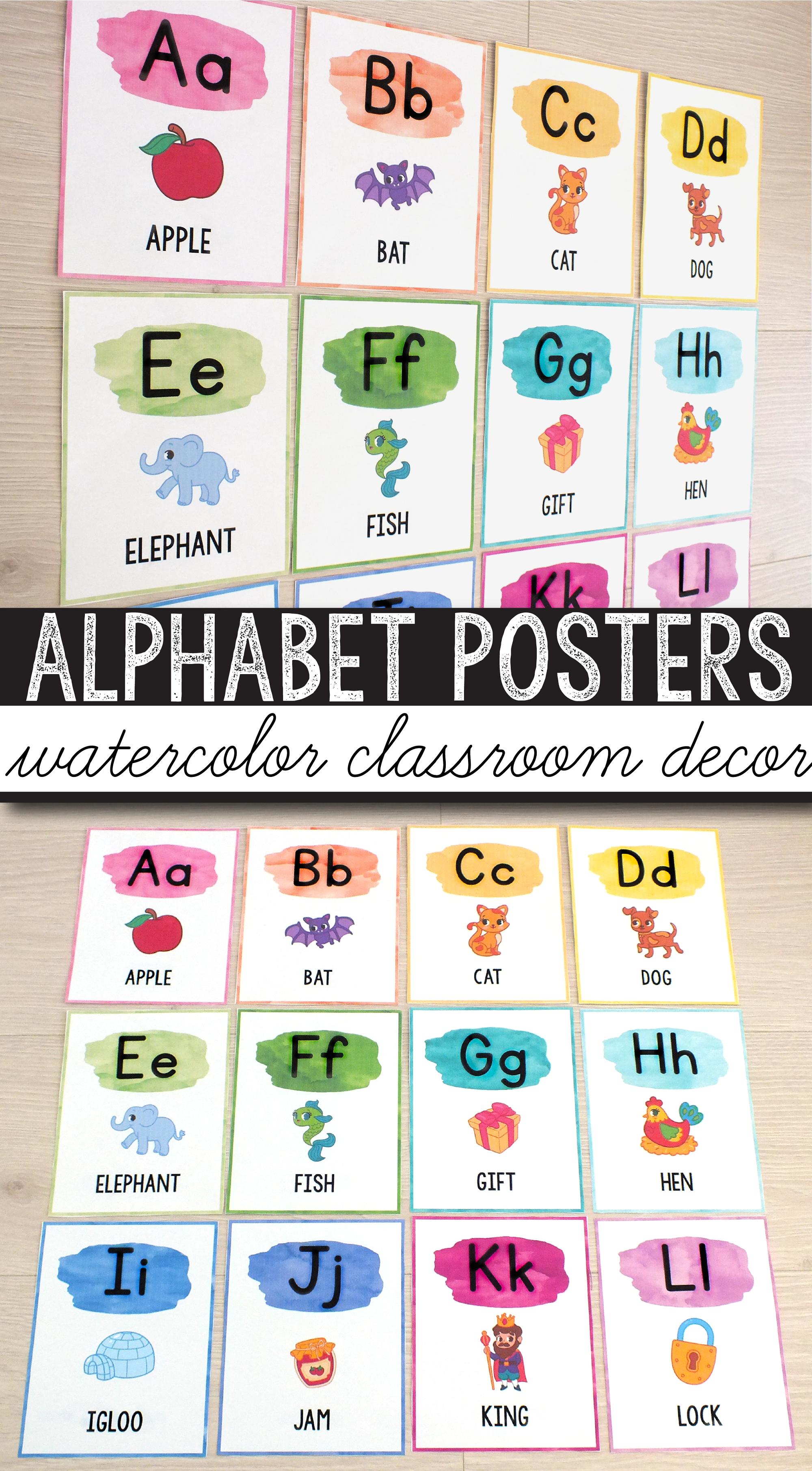 FREE Alphabet Posters - Print & Cursive - Watercolor Classroom Decor