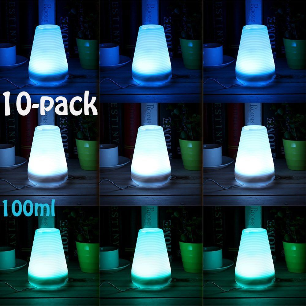 10PC 100ml Ultrasonic Air Humidifier Aroma Diffuser Warm White Yoga ...