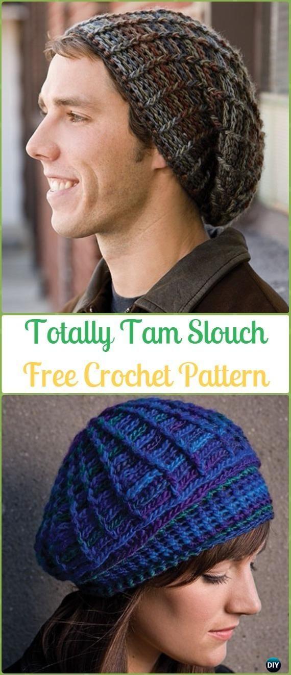 Crochet Totally Tam Slouch Beanie Hat Free Pattern Crochet