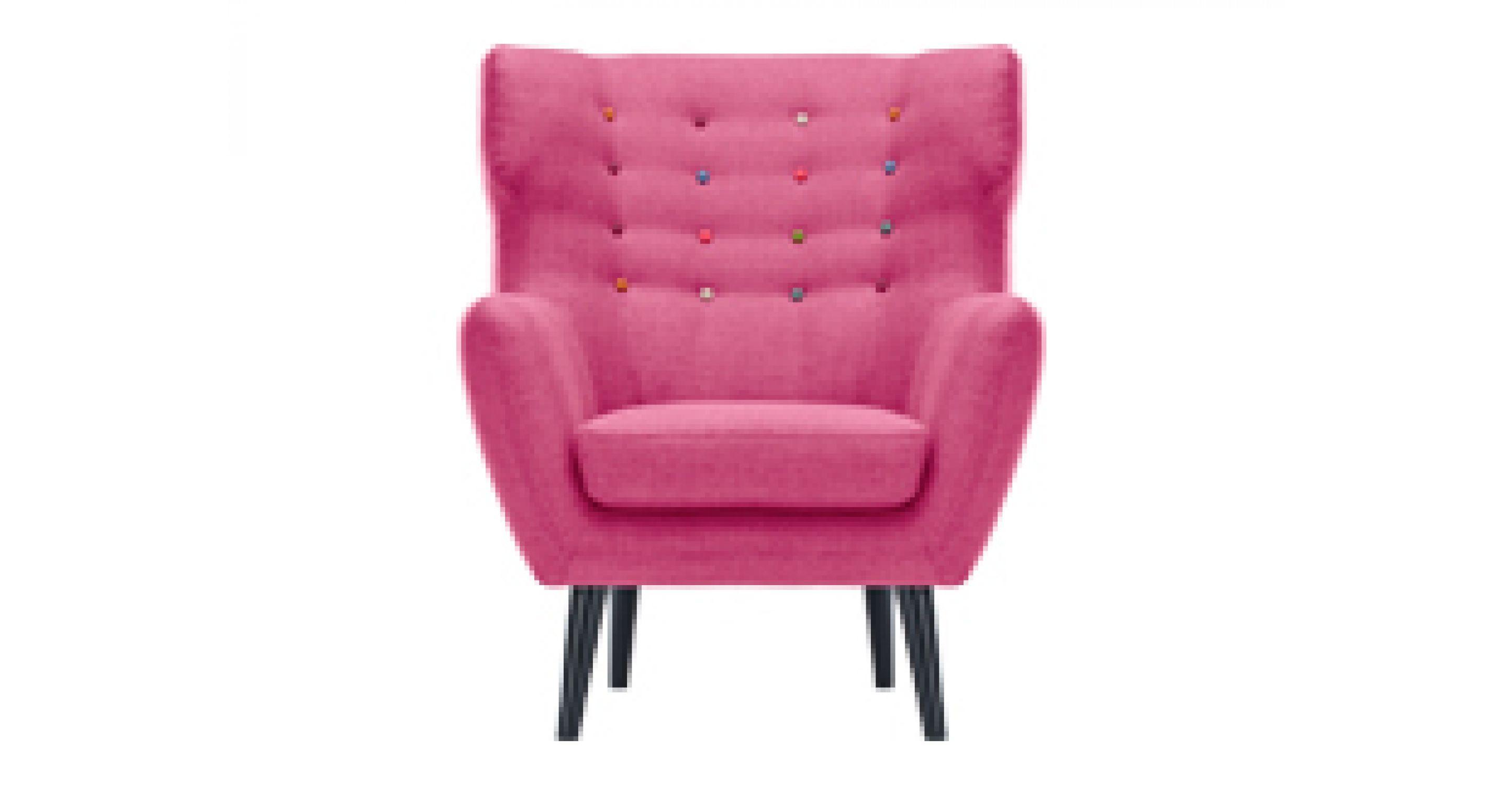 Poltrona da lettura kubrick color rosa pastello con bottoni